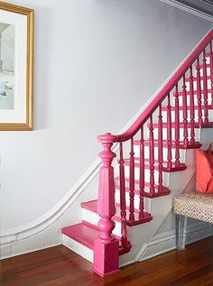 """Originally, this staircase, leading to the private area of the house, was a mess. Since a total restoration wasn't in my budget, this staircase was yearning for a fresh coat of paint. Pulling one of my favorite hues of pink ( Gypsy Pink) on Painted Banister, Stair Banister, Painted Staircases, Banisters, Spiral Staircases, Painted Floors, Brownstone Homes, Brooklyn Brownstone, Foyers"