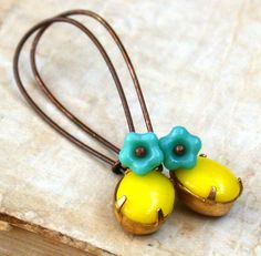 These add a zap of cuteness to your day ...  Turquoise Czech Flower With Lovely Vintage Opaque by roomofyourown, $24.00