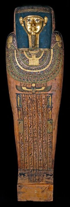 Mummy of Hornedjitef (inner coffin) From Thebes, Egypt, Early Ptolemaic Period, 3rd century BC The mummy of Hornedjitef was encased in a gilded cartonnage mask and cover, and two anthropoid (human-shaped) wooden coffins. The coffins follow traditional Egyptian funerary practice in form and decoration.