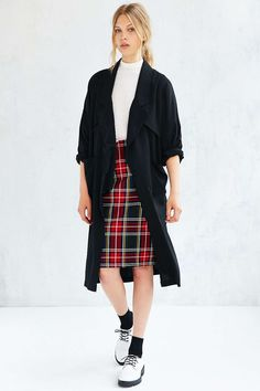 UNIF Drapey Dolman-Sleeve Trench Coat