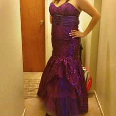 Purple sequence Prom dress Purple sequence mermaid style dress was only wore once. Its sequence all over front and back. I am 5'3 and length is perfect if you are taller and wear heels they will show.  Over all it is in great conditions. Cindy  Dresses Prom