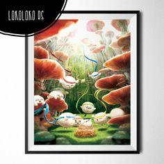 #PosterInfantil con pajaritos en un bosque de setas