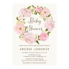 Pretty Peonies Wreath Baby Shower Invitation features an elegant wreath of peony flowers that are mostly pink.  A chic invite for a sophisticated lady who is due to have a little girl in the spring.