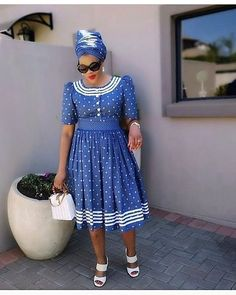 Trend of Shweshwe Dresses South Africa Styles 2020 - Fashion Xhosa Attire, African Attire, Latest African Fashion Dresses, African Dresses For Women, African Clothes, South African Traditional Dresses, Setswana Traditional Dresses, Traditional Styles, African Print Dress Designs