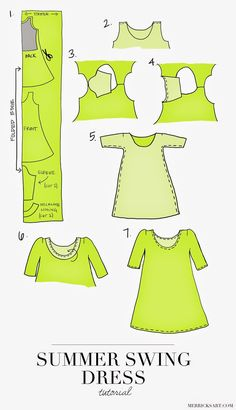 Merricks Art: THE PERFECT SUMMER SWING DRESS (TUTORIAL) Easy make your own pattern project requires 2 yards cotton/spandex stretch jersey