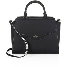 Kate Spade New York Makayla Scalloped Leather Satchel (22.905 RUB) ❤ liked on Polyvore featuring bags, handbags, leather purses, leather man bags, kate spade handbags, leather satchel purse and satchel handbags