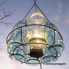 Mason Jar Blue Atlas Chandelier - using the canning insert to hold them aloft