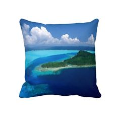Unique, trendy, fashionable and decorative beach and tropical summer themed throw pillow. With pretty painting of the exotic tropical island in the ocean. Beautiful use of blue and ocean turquoise colors. Cute and fun gift for mom's or dad's birthday, Mother's or Father's day, or Christmas. Great for decorating the master or kid's bedroom, nursery, dorm. man cave, living or family room, beach house, cabin, cottage, lake or river home, or office with.