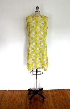1960s Day Dress / Daisy Flower Garden / Extensive Hand Embroidery / from ThisBlueBird