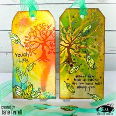 Gorgeous tags created by Jane Tyrrell featuring our tree, leaves and sentiment from our 'Tree of Life' stamp set. Image Stamp, All In The Family, Small Leaf, Tree Of Life, Mother Earth, Birthday Cards, My Design, Christmas Cards, Mixed Media