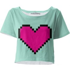 Pixel My Heart Crop Top - Cute 8 bit pink heart design makes a cute women's fashion statement or gift for anyone interested in retro or vintage video games, gaming, computers, or eighties inspired art. Disclosure: This is an affiliate link.