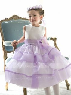 £69.99 Dreamy Lilac Sleeveless Two-tier Organza&Satin Flowergirl Dresses