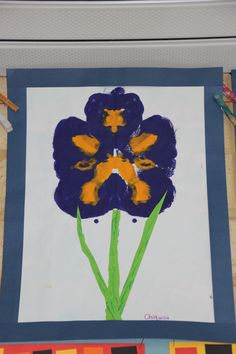 Irises  created after studies of Vincent Van Gogh's artwork Acrylic Symmetry  Year 1