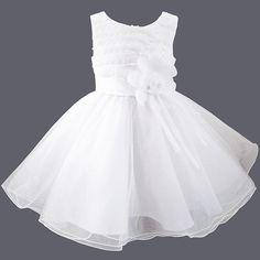 Robe de baptême en voile blanc brodé de perles Louna > Babystock
