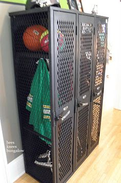 Lockers For Boys Bedrooms...Super Cute (of course minus the smell of a real boys locker room..teeheee)