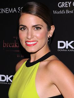 Nikki Reed's bright, coral lip is a glam choice for prom!