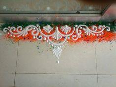 Delicate rangoli Easy Rangoli Designs Videos, Rangoli Side Designs, Easy Rangoli Designs Diwali, Rangoli Borders, Rangoli Patterns, Free Hand Rangoli Design, Rangoli Ideas, Rangoli Designs Images, Beautiful Rangoli Designs