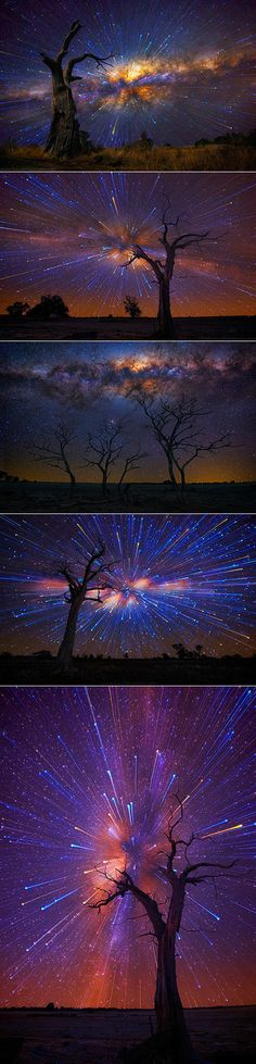 Photographer Lincoln Harrison continues to amaze us with his extensive collection of surreal Startrails. Last year, we were just amazed by his circular swirls that filled the night and now, more recently, he produced a series in which each composition is Exposure Photography, Night Photography, Amazing Photography, Art Photography, Photography Lighting, Images Lindas, Pretty Pictures, Cool Photos, Mind Blowing Pictures