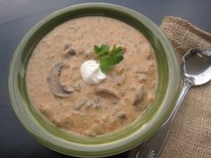 I got this from Allrecipes And it was submitted by Cathy T. It is by far the best mushroom soup I have EVER had. Quick, simple but so full of flavor And filling!