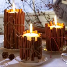 Pillar candles wrapped with cinnamon sticks-- very rustic! These would be great on our mantle!