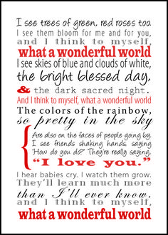 """What a Wonderful World"" by Louis Armstrong- my father daughter dance song Louis Armstrong, Great Quotes, Quotes To Live By, Inspirational Quotes, Awesome Quotes, Life Quotes, We Will Rock You, Just For You, Wonders Of The World"