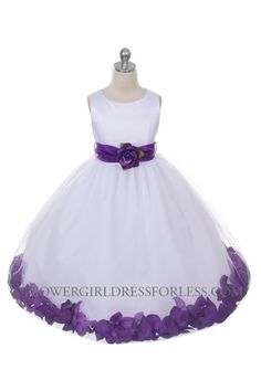 Flower Girl Dress Style 152 - Choice of White or Ivory Dress with Purple Sash and Petals $49.99