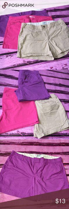 3pairs of women's old navy shorts 🎀 These old navy shorts are in perfect condition. Comes from a smoke free home. Bright colors barley ever worn. Size 14 Old Navy Shorts Cargos