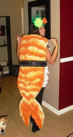 sushi halloween costume idea --used packing peanuts for the rice, spray painted a foam mattress pad for the shrimp, used ribbon for the seaweed wrap, and felt for the ginger and wasabi headpiece.