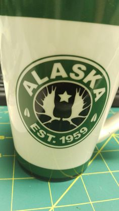 Alaska Coffee Mug - Moose antlers with star est 1959 Alaska - Green black white
