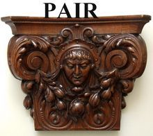 Antique French Carved Oak Figural Bracket Shelf PAIR from Deco Antiquaire on Ruby Lane
