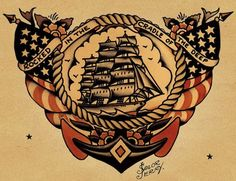 """If you don't know who Sailor Jerry is– you don't know tattoos. Norman """"Sailor Jerry"""" Collins is considered the foremost American tattoo artist of his time, and defined the craft in tw… Tattoo Old School, New School Tattoo Design, Sailor Jerry Flash, Naval Tattoos, Marine Tattoos, Military Tattoos, Mr Sandman, Desenhos Old School, Hawaiianisches Tattoo"""