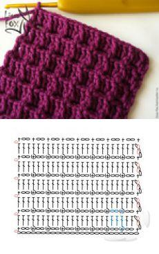 Crochet Stitches with patterns! Don't miss them - Puntos en Crochet con patrones! ¡No te los pierdas – Carola Crochet Stitches with patterns! Guêtres Au Crochet, Crochet Scarf Diagram, Crochet Motifs, Crochet Stitches Patterns, Crochet Chart, Knitting Stitches, Knitting Patterns Free, Free Crochet, Stitch Patterns