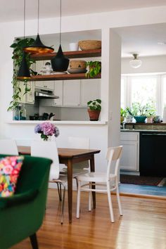 A Wall Was Removed To Open This Space More On Design*Sponge --> Instead of taking half the kitchen wall down?