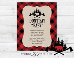 "Instant Download Black and Red Buffalo Plaid Baby Shower Game by Studio20Designs. This lumberack ""Don't Say Baby"" autumn inspired game is a great shower icebreaker. Each guest takes a pin when they arrive. If they catch another guest saying the word ""baby,"" they take their pin. The guest with the most pins at the end of the shower wins!"