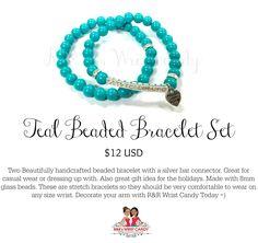 Teal Beaded Bracelet Set by R & R's Wristcandy on Etsy fro $12 USD
