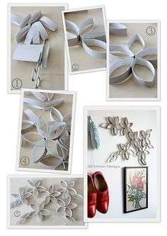 toilet paper/ paper towel roll tubes, paint, hot glue become flowers/ wall hanging Crafts