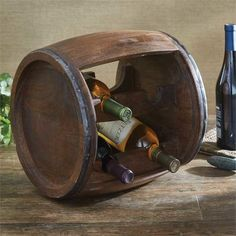 Unique Rustic Wood Barrel Wine Rack Primitive Tavern Style Holds 4 Bottles New  #Unbranded