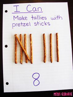 Graphing and Data Analysis in First Grade Teaching tally marks with pretzel sticks and other fun tallies and tally chart activities Maths Guidés, Fun Math, Teaching Math, Math Help, Math Fractions, Learn Math, Teaching Time, Math Art, Teaching Spanish