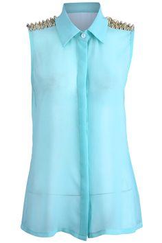 Romwe.com Mint Green Riveted Vest  $27.99 #Romwe