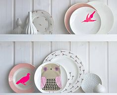 plates with neon birds... inspo for the mugs