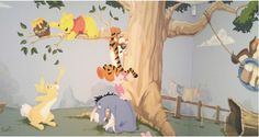 When painting a Winnie the Pooh mural there are two different styles you could go for. A traditional style, like in the original book illustrations or a mo |Features, Fun Stuff, Kids Room, Living