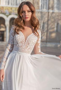 sposa 2020 bridal long sleeves v neck heavily embellished bodice romantic modified soft a line wedding dress sheer button back sweep train zv -- Luce Sposa 2020 Wedding Dresses Corset Back Wedding Dress, Wedding Dress Types, Sheer Wedding Dress, Western Wedding Dresses, Long Wedding Dresses, Princess Wedding Dresses, Perfect Wedding Dress, Wedding Attire, Bridal Dresses