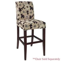 Powell Black Peppercorn Floral Slip Over for Counter Stool or Bar Stool
