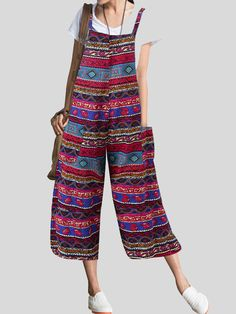 Gender: Female style: Casual Edition type: loose cropped wide-leg pants Style details: printing Fabric composition: cotton and linen Color: red, green, blue Size: S, M, L, XL, XXL, XXXL, 4XL, 5XL. TagSize Length Chest cm | inch cm | inch S 132cm |51.9'' 95cm |37.3'' M 133cm |52.3'' 100cm |39.3'' L 134cm |52.7'' 105cm |41.3'' XL 135cm |53.1'' 110cm |43.2'' XXL 136cm |53.4'' 115cm |45.2'' 3XL 137cm |53.8'' 120cm |47.2'' Plus Size Romper, Plus Size Jumpsuit, Jumpsuit Blue, Style Ethnique, Ethnic Print, Bohemian Print, Cropped Trousers, Thing 1, Jumpsuits For Women