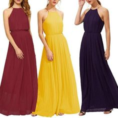 2a805a909c60 Fashion Elastic Waist Pleated Maxi Dress