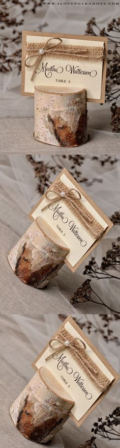 Rustic Place Card with Birch Bark Holder #rustic #country #realwood