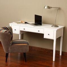 @Overstock.com - Cami White 3-drawer Writing Desk  http://www.overstock.com/Home-Garden/Cami-White-3-drawer-Writing-Desk/6641491/product.html?CID=214117 $259.99