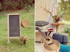 Chalkboard wedding sig,, pillows, guitar. Dreamy romantic Bohemian inspiration outdoors in the middle of nature. Katelin Wallace Photography.