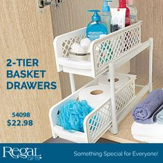 """2-TIER BASKET DRAWERS from Regal Gifts Organizes kitchen & bathroom cabinets. Shelves slide out and baskets are removable for easy access. Features non skid feet, easy to assemble and portable. No tools required. 14""""H x 15""""L x 7-1/4""""W Product Number: 54098 http://www.Regal.ca"""