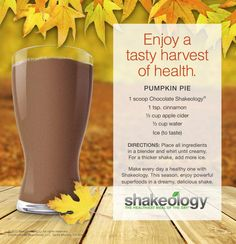 Pumpkin Chocolate Shakeology. Apple cider